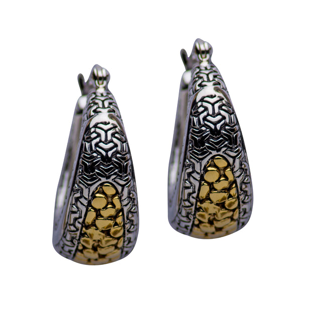 14K Gold & Rhodium Plated Patterned Sterling Silver Earrings