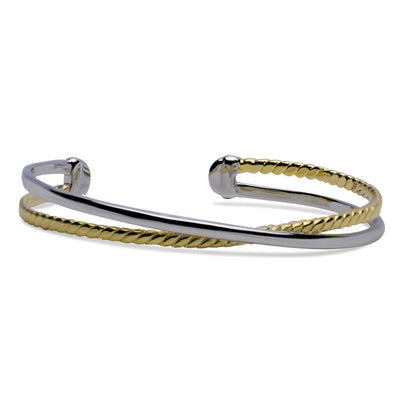 Two Tone Crossover Sterling Silver Bangle