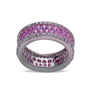 Pink & Clear Cubic Zirconia in Rhodium Plated Sterling Silver Ring
