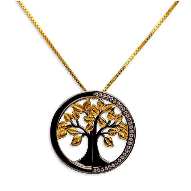 14K Gold Plated Black Sterling Silver 3D Tree of Life Pendant Necklace