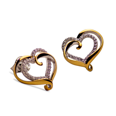 14K Gold Plated Sterling Silver Double Heart Stud Earrings