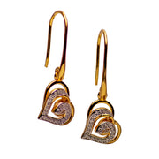 14K Gold Plated Sterling Silver Double Heart Dangle Earrings