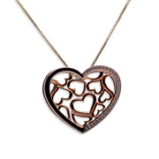 14K Rose Gold Plated Sterling Silver 3D Hearts Pendant Necklace