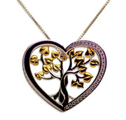 14K Yellow Gold Plated Sterling Silver 3D Tree of Life Heart Necklace