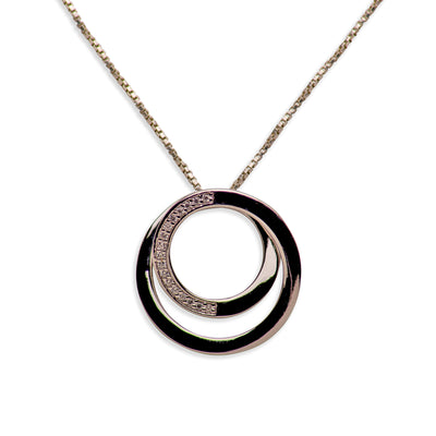 3D Infinity Circle Rhodium Plated Sterling Silver Pendant Necklace