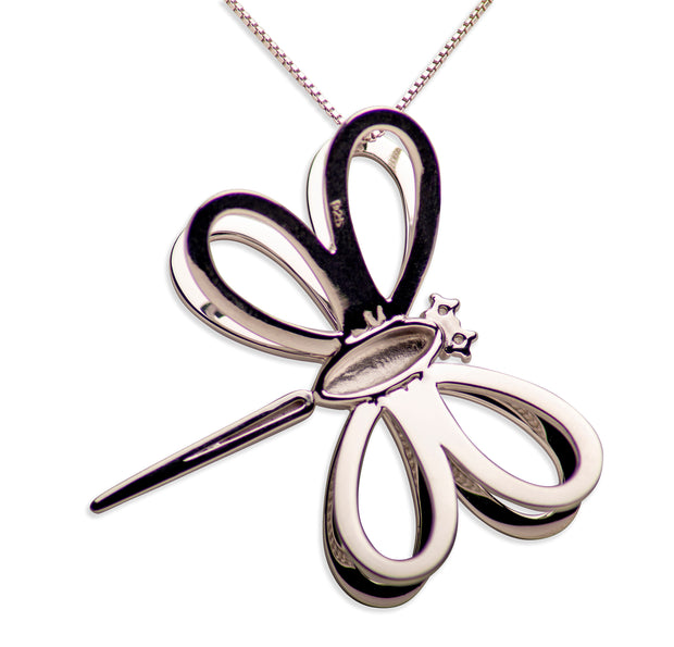 3D Dragonfly Rhodium Plated Sterling Silver Pendant Necklace