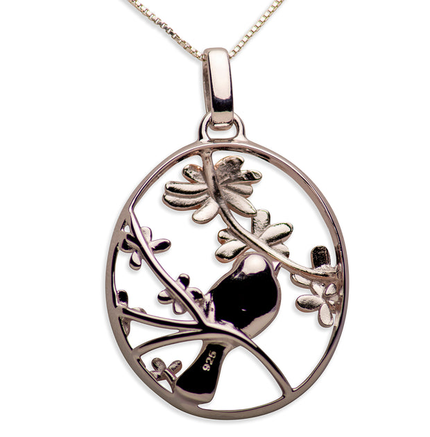 14K Rose Gold Plated Sterling Silver 3D Flower & Bird Pendant Necklace