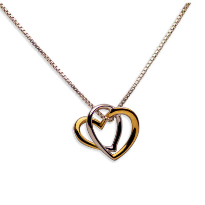 14K Gold Plated Sterling Silver 3D Heart Pendant Necklace