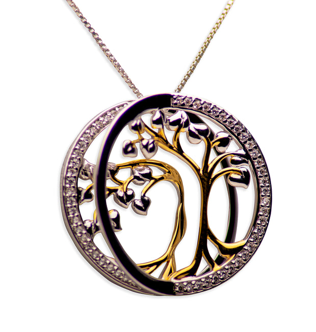 14K Gold Plated Sterling Silver 3D Tree of Life Pendant Necklace