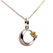 14K Gold Plated Sterling Silver 3D Moon & Start Pendant Necklace