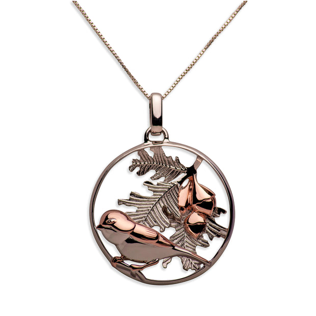 14K Rose Gold Plated Sterling Silver 3D Bird & Oak Leaves Necklace