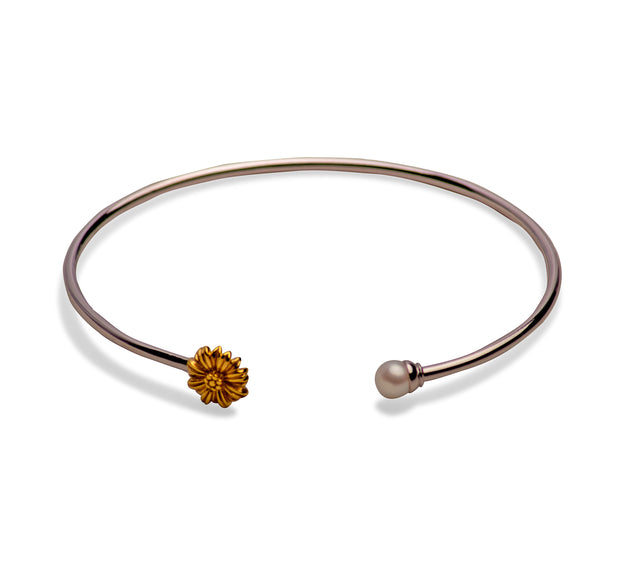 14K Gold Plated Sterling Silver Pearl Sunflower Bangle Bracelet