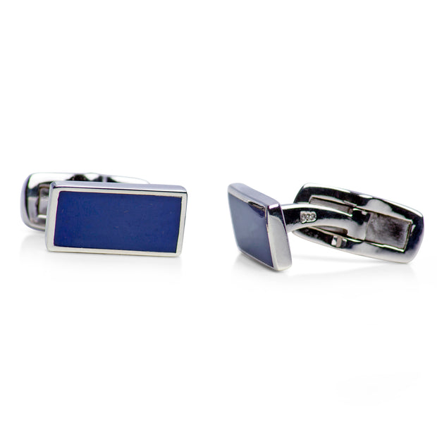 Created Lapis Sterling Silver Cufflinks | SilverAndGold