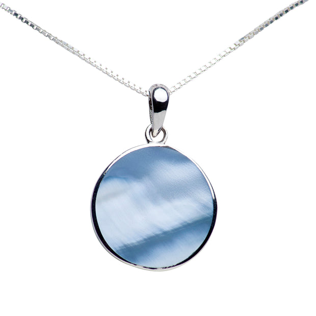 Blue Mother of Pearl Sterling Silver Tree of Life Pendant Necklace