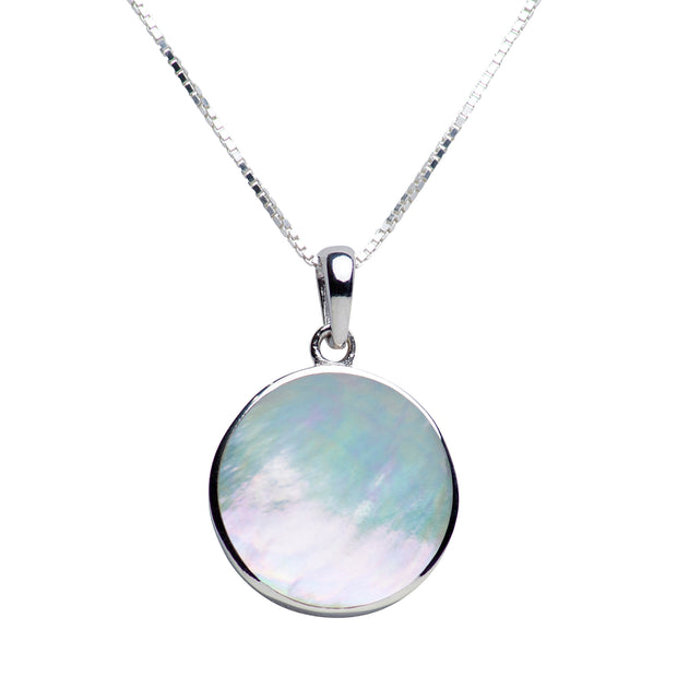 White Mother of Pearl Sterling Silver Tree of Life Pendant Necklace
