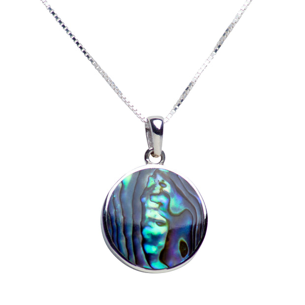 Sterling Silver Tree of Life Pendant Necklace with Abalone Accent