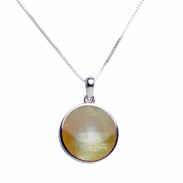 Gold Mother of Pearl Sterling Silver Tree of Life Pendant Necklace