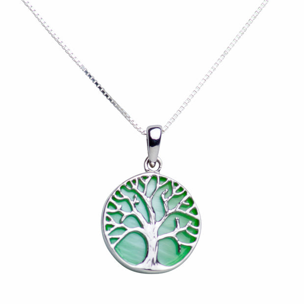 Green Mother of Pearl Sterling Silver Tree of Life Pendant Necklace