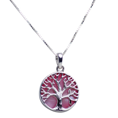Pink Mother of Pearl Sterling Silver Tree of Life Pendant Necklace
