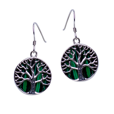 Tree of Life Earrings with Created Malachite Accent | SilverAndGold