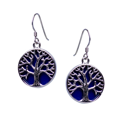 Tree of Life Earrings with Created Lapis Accent | SilverAndGold