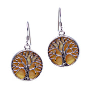 Tree of Life Earrings with Gold Mother of Pearl Accent | SilverAndGold