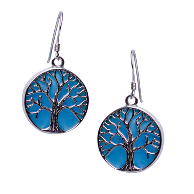 Tree of Life Earrings with Blue Mother of Pearl Accent | SilverAndGold