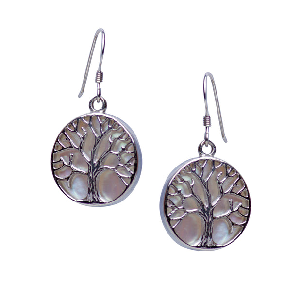 White Mother of Pearl Accented Tree of Life Earrings | SilverAndGold