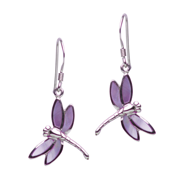 Rhodium Plated Sterling Silver Purple Mother of Pearl Dragonfly Dangle Earrings