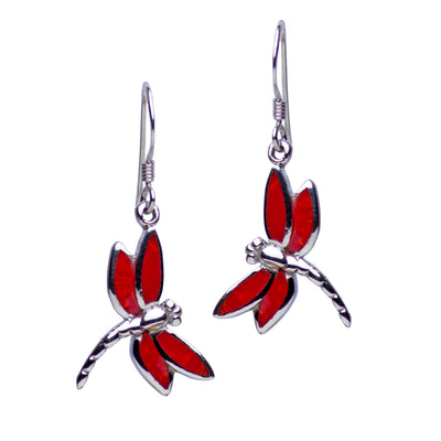 Rhodium Sterling Silver Created Red Coral Dragonfly Dangle Earrings