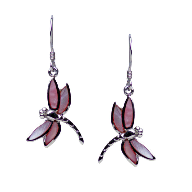 Rhodium Plated Sterling Silver Pink Mother of Pearl Dragonfly Dangle Earrings
