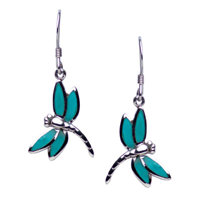 Rhodium Plated Sterling Silver Created Green Turquoise Dragonfly Dangle Earrings