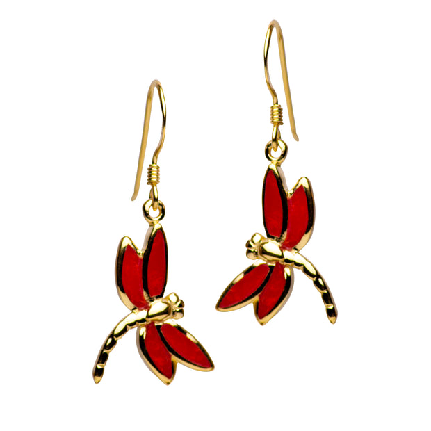 14K Yellow Gold Plated Sterling Silver Created Red Coral Dragonfly Dangle Earrings