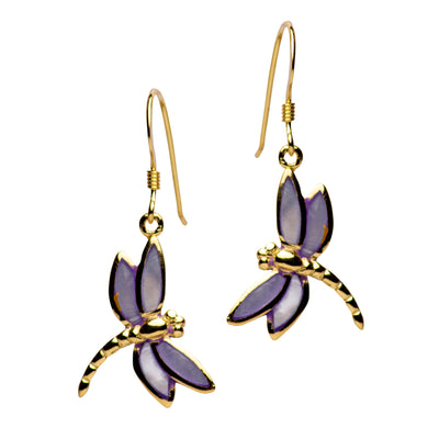 14K Yellow Gold Plated Sterling Silver Purple Mother of Pearl Dragonfly Dangle Earrings