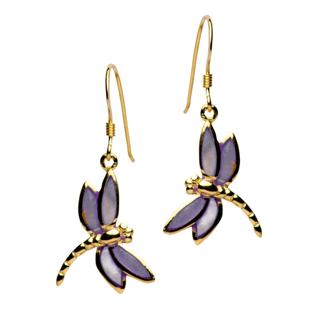Gold Plated Purple Mother of Pearl Dragonfly Earrings | SilverAndGold
