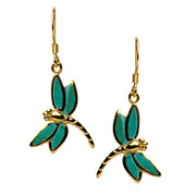 14K Yellow Gold Plated Sterling Silver Created Green Turquoise Dragonfly Dangle Earrings