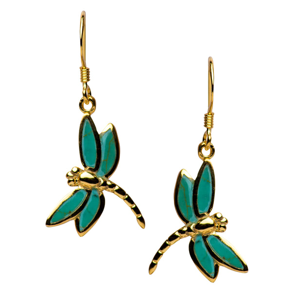 Gold Plated Created Turquoise Dragonfly Earrings | SilverAndGold