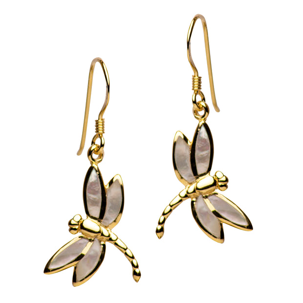 14K Yellow Gold Plated Sterling Silver White Mother of Pearl Dragonfly Dangle Earrings