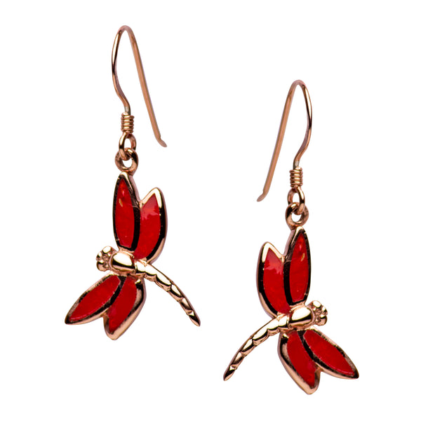 14K Rose Gold Plated Sterling Silver Created Red Coral Dragonfly Dangle Earrings