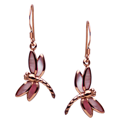 14K Rose Gold Plated Sterling Silver Pink Mother of Pearl Dragonfly Dangle Earrings