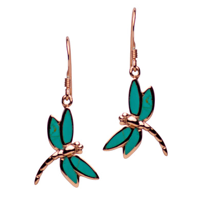 14K Rose Gold Plated Sterling Silver Created Green Turquoise Dragonfly Dangle Earrings
