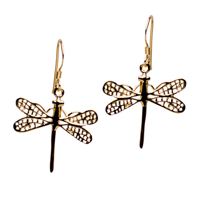 14K Yellow Gold Plated Sterling Silver Graceful Dragonfly Earrings