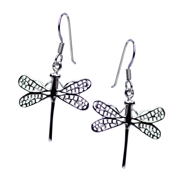 Rhodium Plated Sterling Silver Graceful Dragonfly Earrings