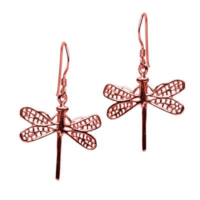 14K Rose Gold Plated Sterling Silver Graceful Dragonfly Earrings