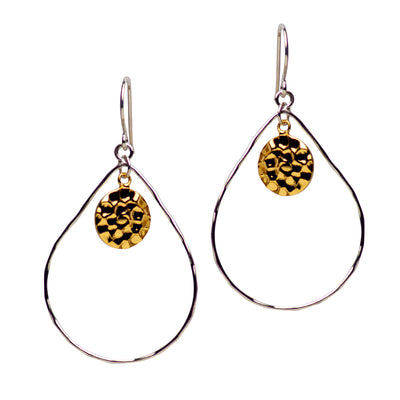 14K Gold Plated Hammered Dangle Chandelier Earrings | SilverAndGold