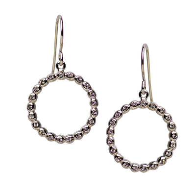 Sterling Silver Circle Ball Dangle Earrings with CZ Gemstones