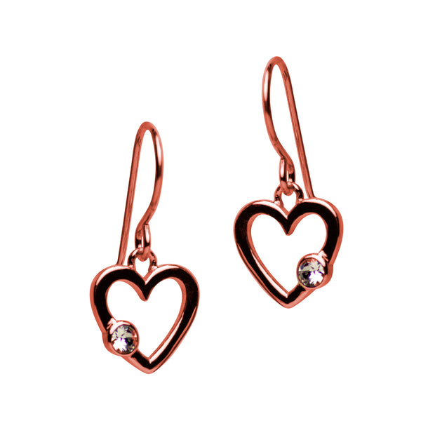 14K Rose Gold Plated Sterling Silver Heart Dangle Earrings with Cubic Zirconia Gemstone