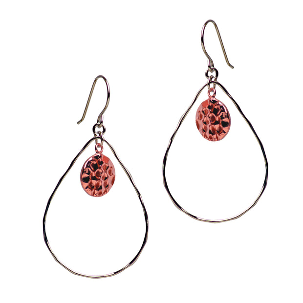14K Rose Gold Plated Hammered Chandelier Earrings | SilverAndGold