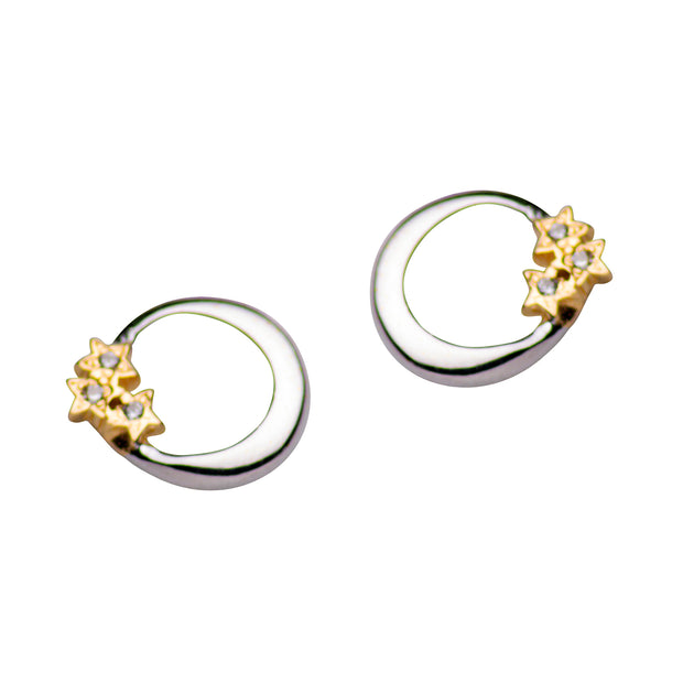 14K Yellow Gold Plated Sterling Silver & CZ Moon & Stars Post Earrings