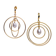 14K Gold Plated & Pearl Circle Dangle Earrings | SilverAndGold